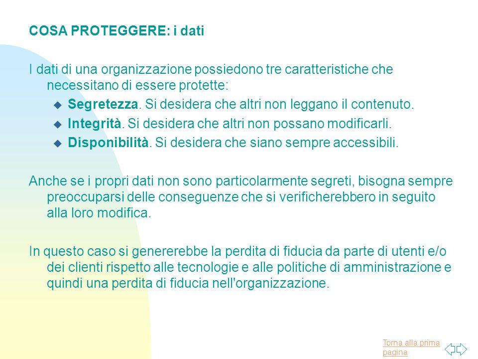 Torna alla prima pagina COSA PROTEGGERE: i dati I dati di una organizzazione possiedono tre caratteristiche che necessitano di essere protette: u Segretezza.