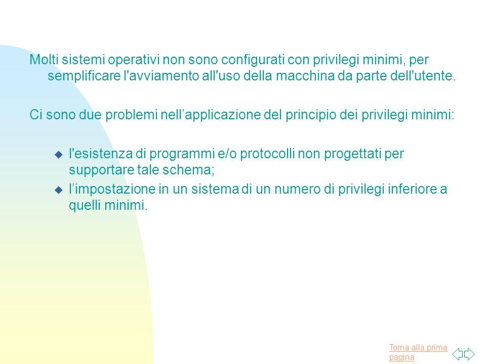 Torna alla prima pagina Molti sistemi operativi non sono configurati con privilegi minimi, per semplificare l avviamento all uso della macchina da parte dell utente.