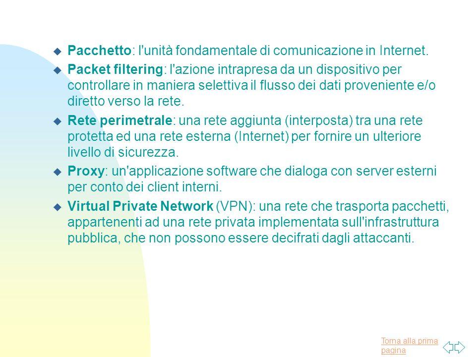 Torna alla prima pagina u Pacchetto: l unità fondamentale di comunicazione in Internet.