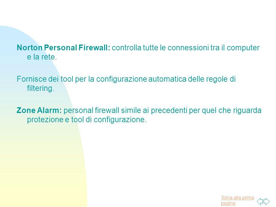 Torna alla prima pagina Norton Personal Firewall: controlla tutte le connessioni tra il computer e la rete.