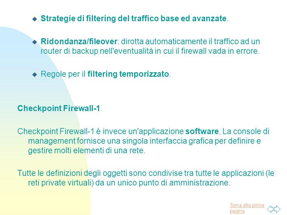 Torna alla prima pagina u Strategie di filtering del traffico base ed avanzate.
