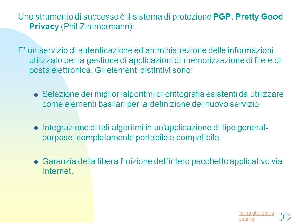Torna alla prima pagina Uno strumento di successo è il sistema di protezione PGP, Pretty Good Privacy (Phil Zimmermann).