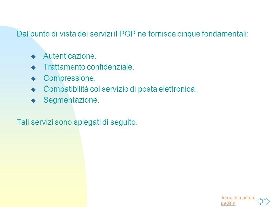 Torna alla prima pagina Dal punto di vista dei servizi il PGP ne fornisce cinque fondamentali: u Autenticazione.