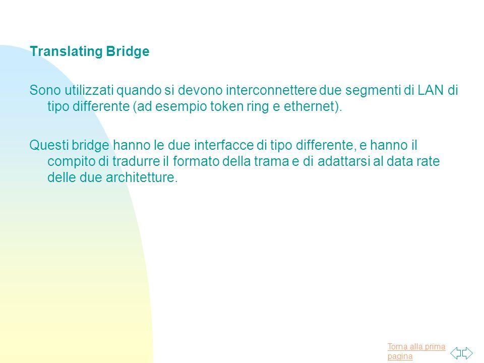 Torna alla prima pagina Translating Bridge Sono utilizzati quando si devono interconnettere due segmenti di LAN di tipo differente (ad esempio token ring e ethernet).