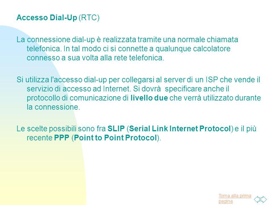 Torna alla prima pagina Accesso Dial-Up (RTC) La connessione dial-up è realizzata tramite una normale chiamata telefonica.