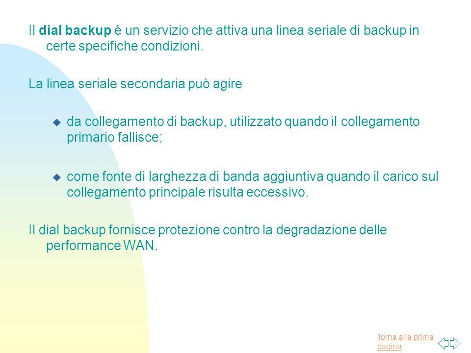 Torna alla prima pagina Il dial backup è un servizio che attiva una linea seriale di backup in certe specifiche condizioni.