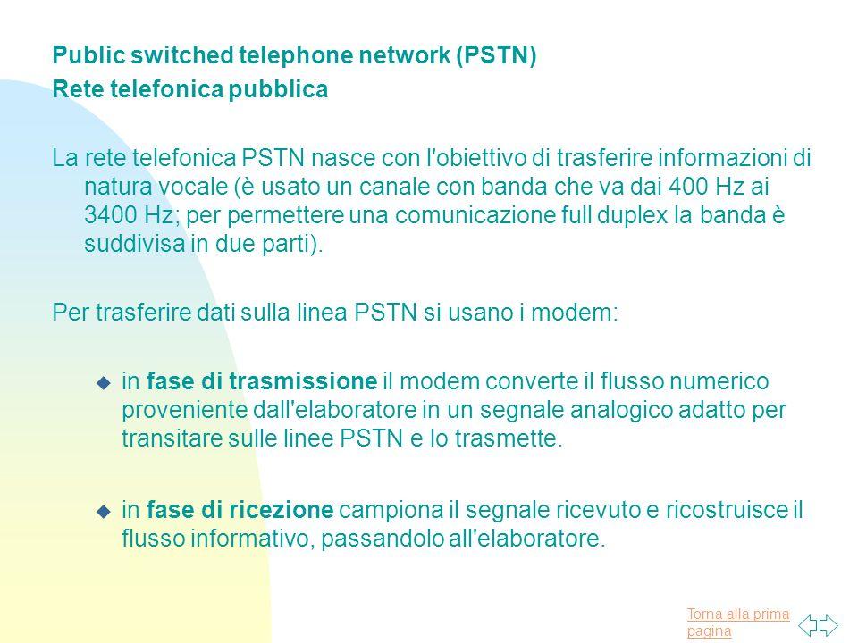 Torna alla prima pagina Public switched telephone network (PSTN) Rete telefonica pubblica La rete telefonica PSTN nasce con l obiettivo di trasferire informazioni di natura vocale (è usato un canale con banda che va dai 400 Hz ai 3400 Hz; per permettere una comunicazione full duplex la banda è suddivisa in due parti).