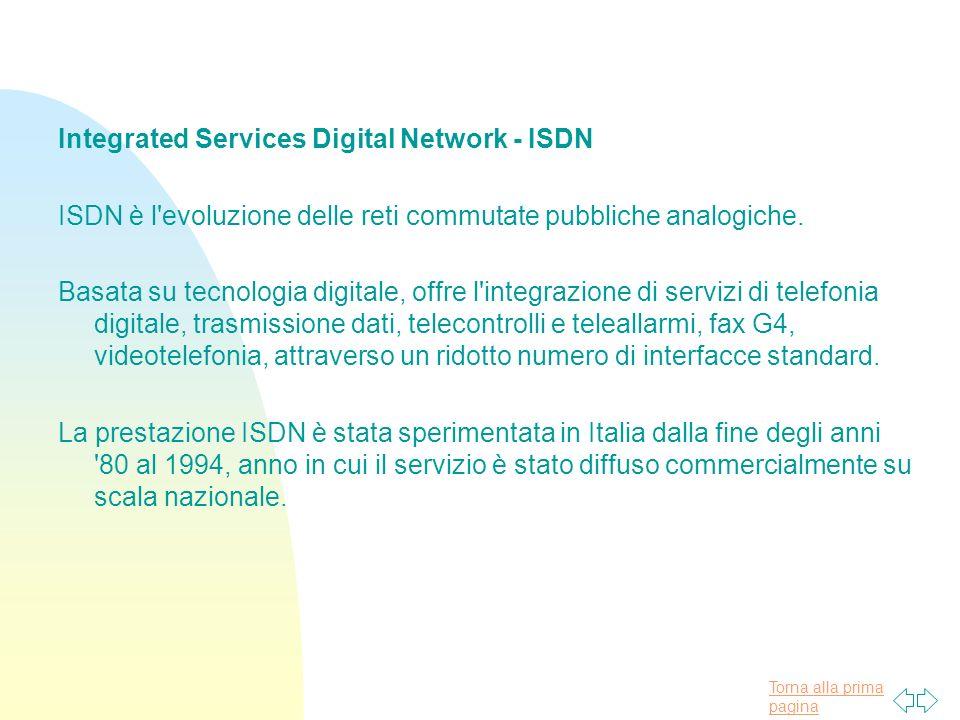 Torna alla prima pagina Integrated Services Digital Network - ISDN ISDN è l evoluzione delle reti commutate pubbliche analogiche.