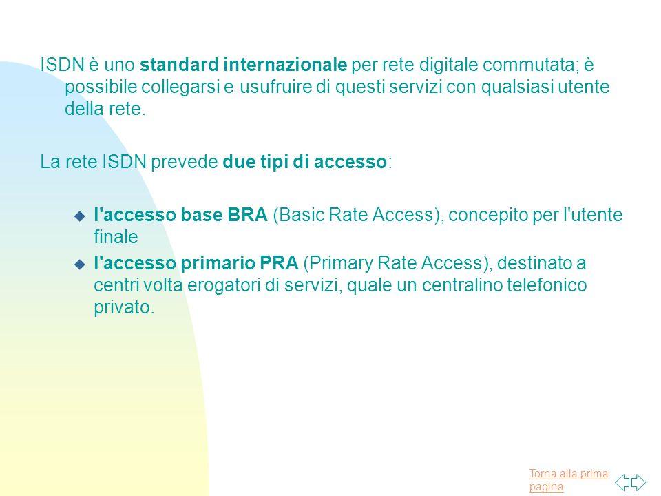 Torna alla prima pagina ISDN è uno standard internazionale per rete digitale commutata; è possibile collegarsi e usufruire di questi servizi con qualsiasi utente della rete.
