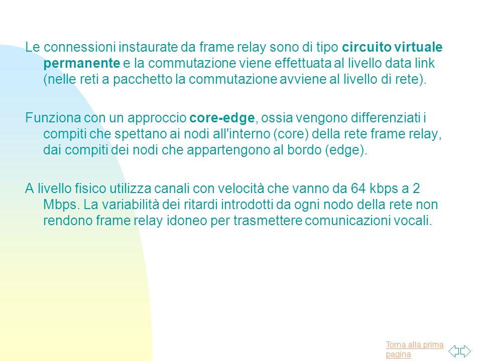 Torna alla prima pagina Le connessioni instaurate da frame relay sono di tipo circuito virtuale permanente e la commutazione viene effettuata al livello data link (nelle reti a pacchetto la commutazione avviene al livello di rete).