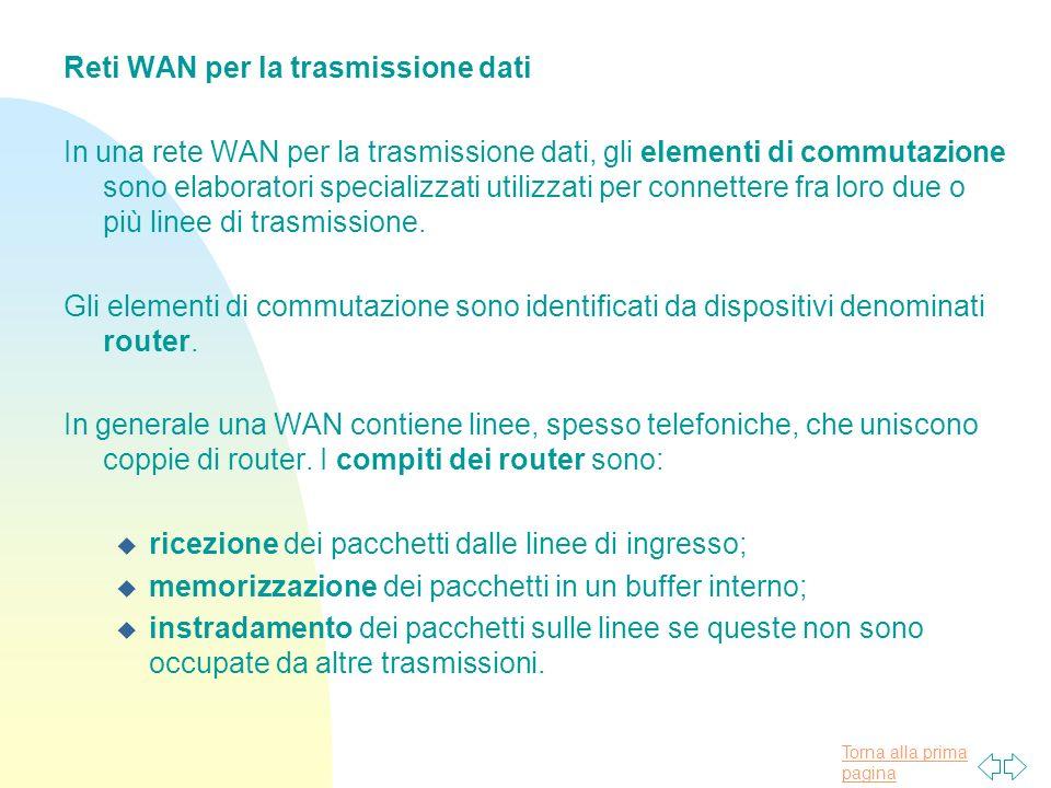Torna alla prima pagina Reti WAN per la trasmissione dati In una rete WAN per la trasmissione dati, gli elementi di commutazione sono elaboratori specializzati utilizzati per connettere fra loro due o più linee di trasmissione.