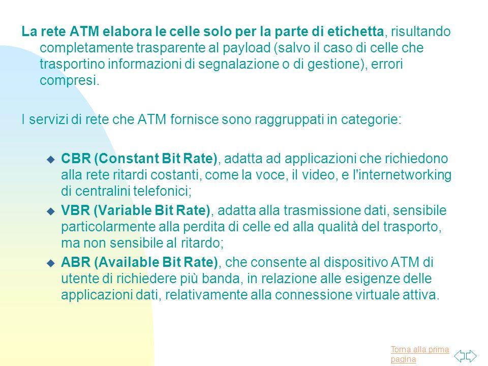 Torna alla prima pagina La rete ATM elabora le celle solo per la parte di etichetta, risultando completamente trasparente al payload (salvo il caso di celle che trasportino informazioni di segnalazione o di gestione), errori compresi.