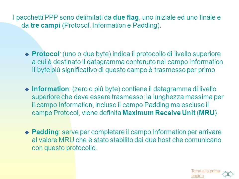Torna alla prima pagina I pacchetti PPP sono delimitati da due flag, uno iniziale ed uno finale e da tre campi (Protocol, Information e Padding).