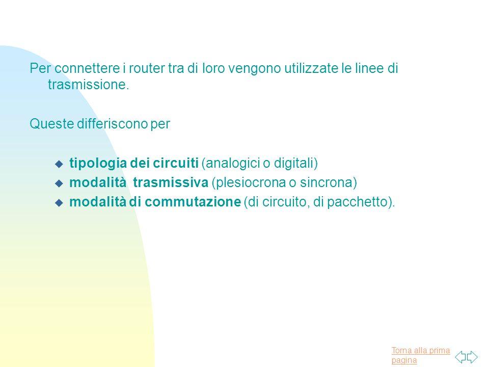 Torna alla prima pagina Per connettere i router tra di loro vengono utilizzate le linee di trasmissione.