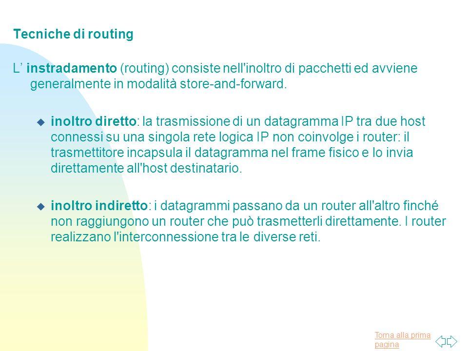 Torna alla prima pagina Tecniche di routing L instradamento (routing) consiste nell inoltro di pacchetti ed avviene generalmente in modalità store-and-forward.
