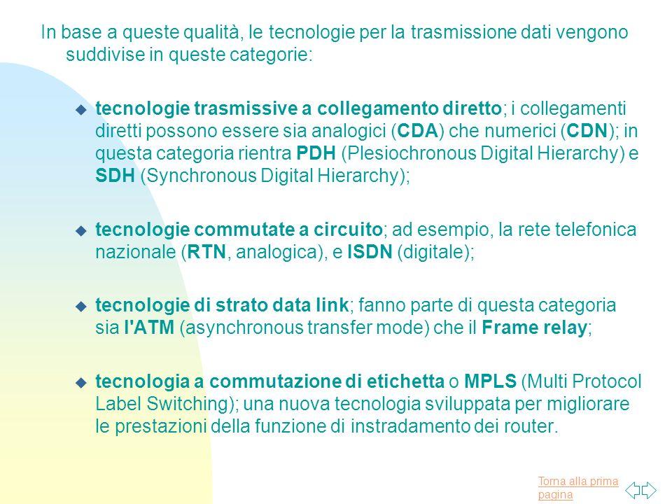 Torna alla prima pagina In base a queste qualità, le tecnologie per la trasmissione dati vengono suddivise in queste categorie: u tecnologie trasmissive a collegamento diretto; i collegamenti diretti possono essere sia analogici (CDA) che numerici (CDN); in questa categoria rientra PDH (Plesiochronous Digital Hierarchy) e SDH (Synchronous Digital Hierarchy); u tecnologie commutate a circuito; ad esempio, la rete telefonica nazionale (RTN, analogica), e ISDN (digitale); u tecnologie di strato data link; fanno parte di questa categoria sia l ATM (asynchronous transfer mode) che il Frame relay; u tecnologia a commutazione di etichetta o MPLS (Multi Protocol Label Switching); una nuova tecnologia sviluppata per migliorare le prestazioni della funzione di instradamento dei router.