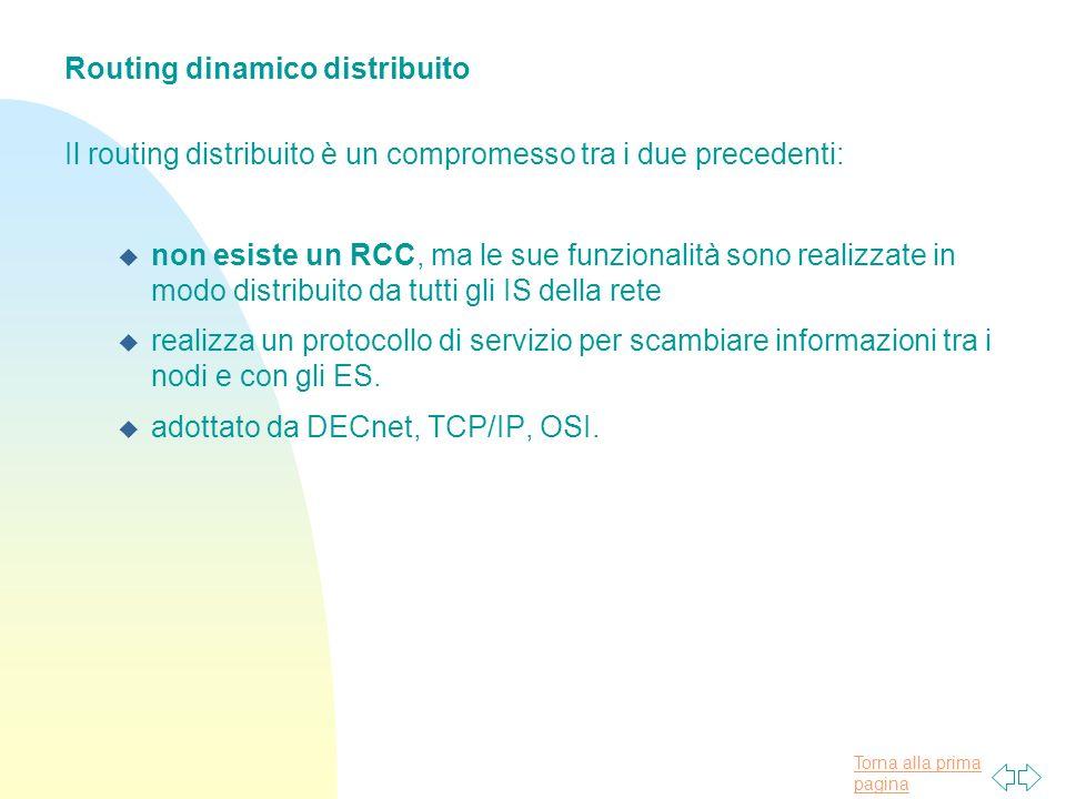 Torna alla prima pagina Routing dinamico distribuito Il routing distribuito è un compromesso tra i due precedenti: u non esiste un RCC, ma le sue funzionalità sono realizzate in modo distribuito da tutti gli IS della rete u realizza un protocollo di servizio per scambiare informazioni tra i nodi e con gli ES.