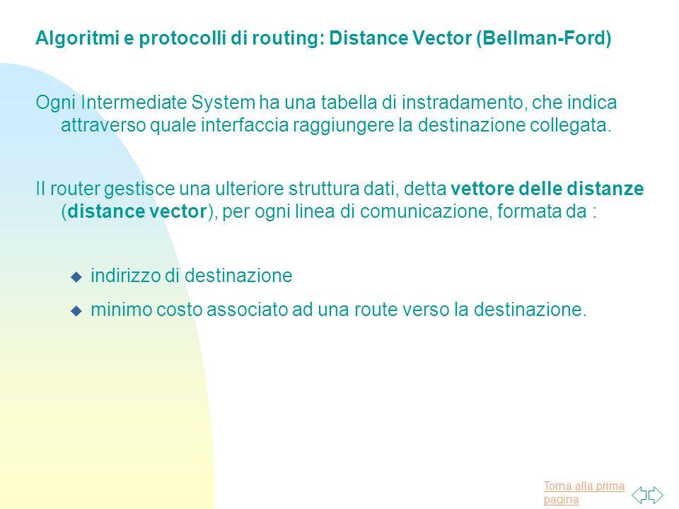 Torna alla prima pagina Algoritmi e protocolli di routing: Distance Vector (Bellman-Ford) Ogni Intermediate System ha una tabella di instradamento, che indica attraverso quale interfaccia raggiungere la destinazione collegata.