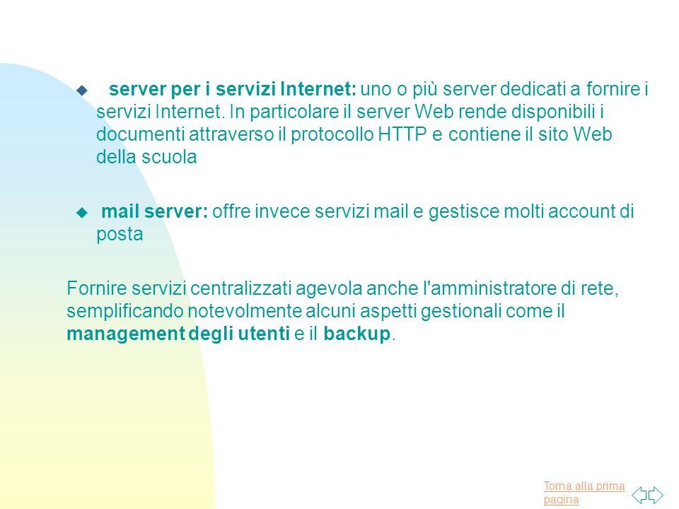 Torna alla prima pagina u server per i servizi Internet: uno o più server dedicati a fornire i servizi Internet.