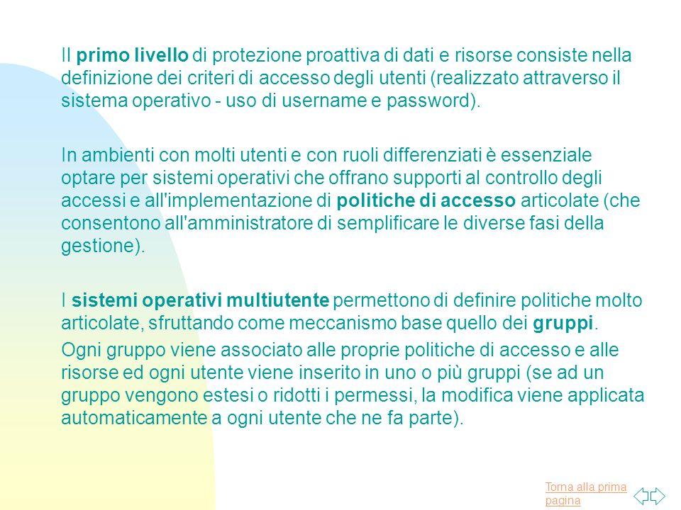 Torna alla prima pagina Il primo livello di protezione proattiva di dati e risorse consiste nella definizione dei criteri di accesso degli utenti (realizzato attraverso il sistema operativo - uso di username e password).