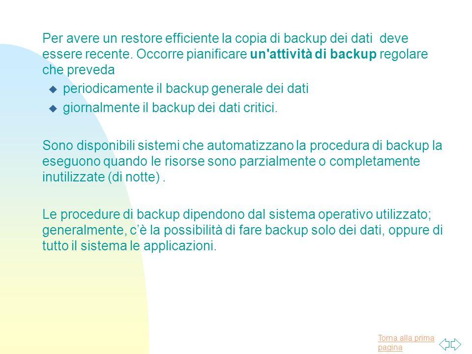 Torna alla prima pagina Per avere un restore efficiente la copia di backup dei dati deve essere recente.