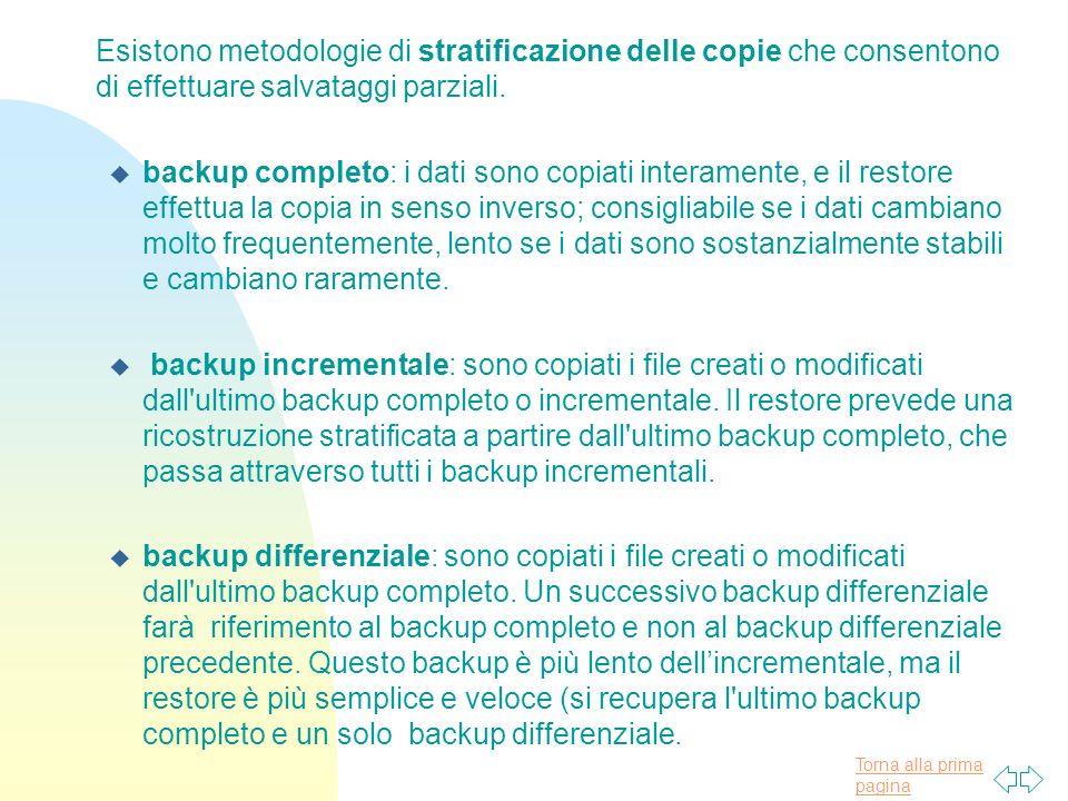 Torna alla prima pagina Esistono metodologie di stratificazione delle copie che consentono di effettuare salvataggi parziali.