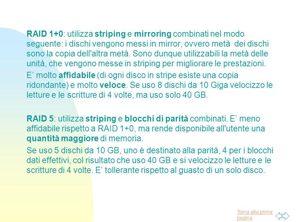 Torna alla prima pagina RAID 1+0: utilizza striping e mirroring combinati nel modo seguente: i dischi vengono messi in mirror, ovvero metà dei dischi sono la copia dell altra metà.