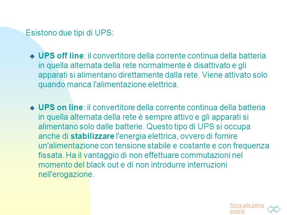 Torna alla prima pagina Esistono due tipi di UPS: u UPS off line: il convertitore della corrente continua della batteria in quella alternata della rete normalmente è disattivato e gli apparati si alimentano direttamente dalla rete.
