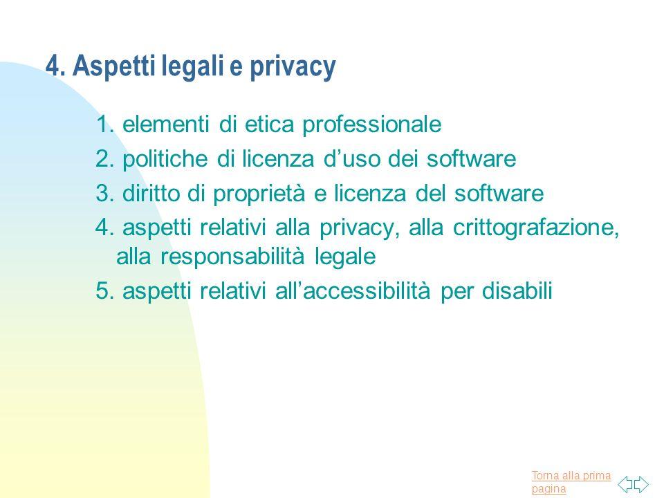 Torna alla prima pagina 4. Aspetti legali e privacy 1.