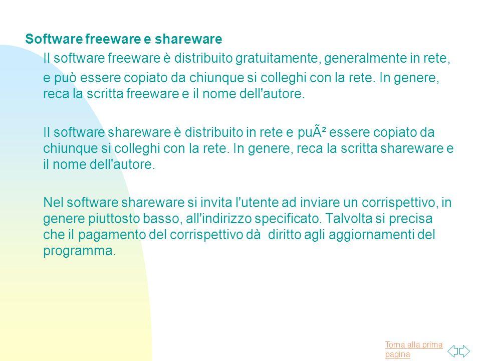 Torna alla prima pagina Software freeware e shareware Il software freeware è distribuito gratuitamente, generalmente in rete, e può essere copiato da chiunque si colleghi con la rete.