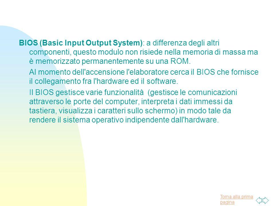 Torna alla prima pagina BIOS (Basic Input Output System): a differenza degli altri componenti, questo modulo non risiede nella memoria di massa ma è memorizzato permanentemente su una ROM.