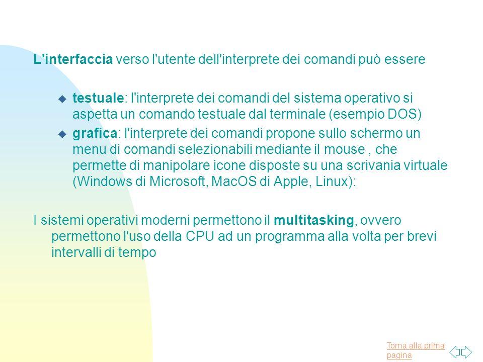 Torna alla prima pagina L interfaccia verso l utente dell interprete dei comandi può essere u testuale: l interprete dei comandi del sistema operativo si aspetta un comando testuale dal terminale (esempio DOS) u grafica: l interprete dei comandi propone sullo schermo un menu di comandi selezionabili mediante il mouse, che permette di manipolare icone disposte su una scrivania virtuale (Windows di Microsoft, MacOS di Apple, Linux): I sistemi operativi moderni permettono il multitasking, ovvero permettono l uso della CPU ad un programma alla volta per brevi intervalli di tempo