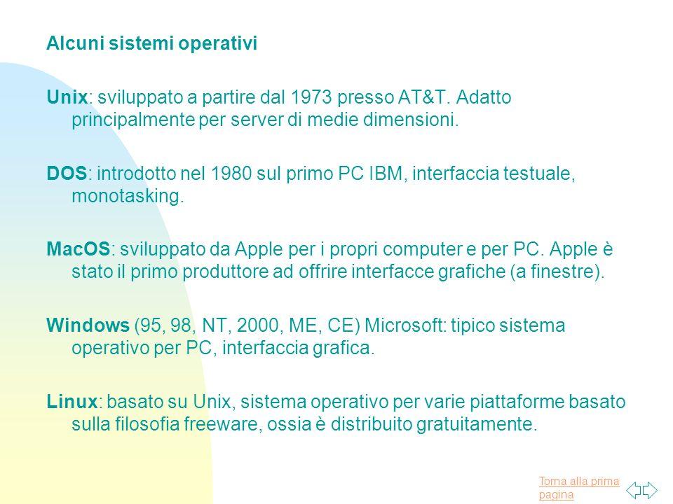 Torna alla prima pagina Alcuni sistemi operativi Unix: sviluppato a partire dal 1973 presso AT&T.