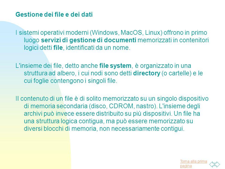 Torna alla prima pagina Gestione dei file e dei dati I sistemi operativi moderni (Windows, MacOS, Linux) offrono in primo luogo servizi di gestione di documenti memorizzati in contenitori logici detti file, identificati da un nome.