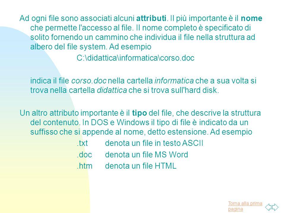 Torna alla prima pagina Ad ogni file sono associati alcuni attributi.