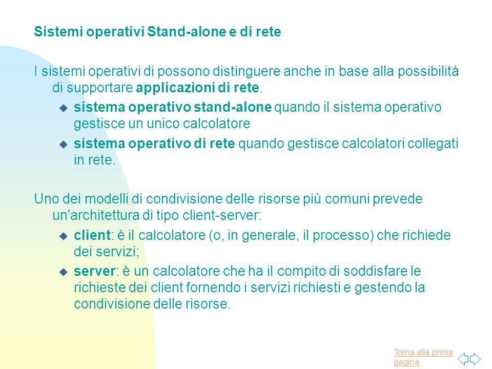 Torna alla prima pagina Sistemi operativi Stand-alone e di rete I sistemi operativi di possono distinguere anche in base alla possibilità di supportare applicazioni di rete.