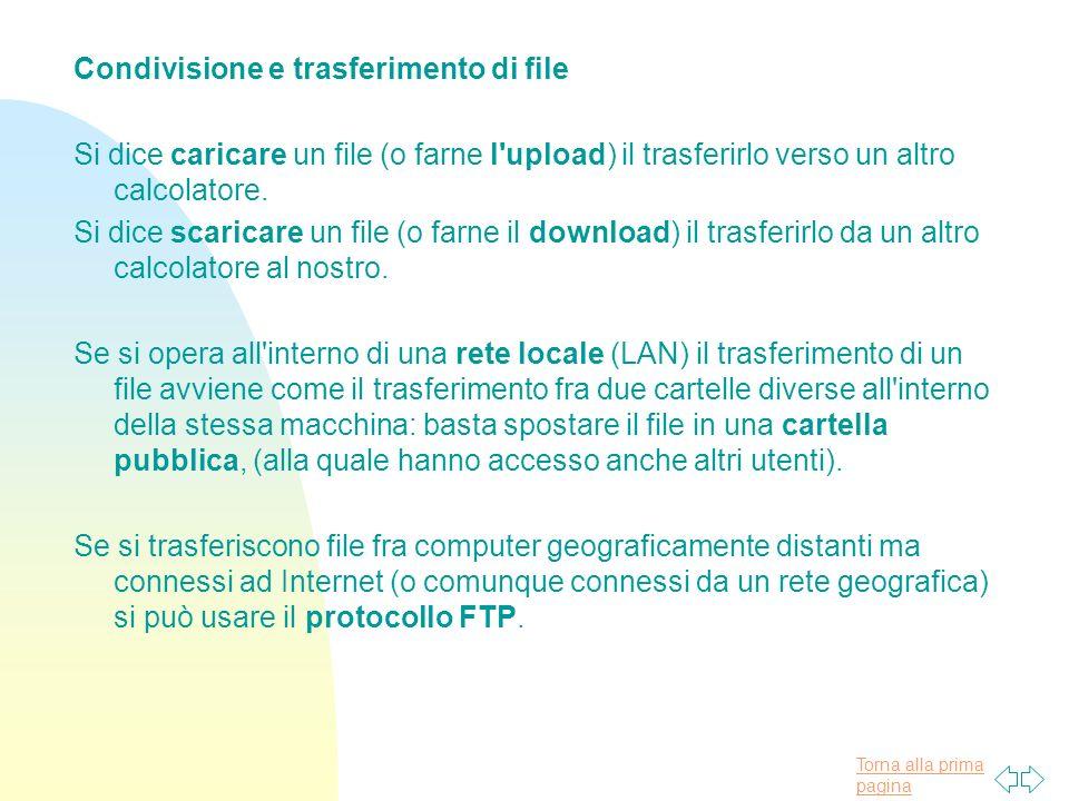 Torna alla prima pagina Condivisione e trasferimento di file Si dice caricare un file (o farne l upload) il trasferirlo verso un altro calcolatore.