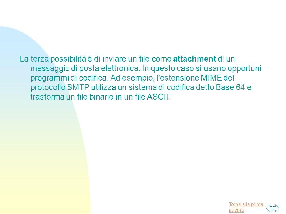 Torna alla prima pagina La terza possibilità è di inviare un file come attachment di un messaggio di posta elettronica.
