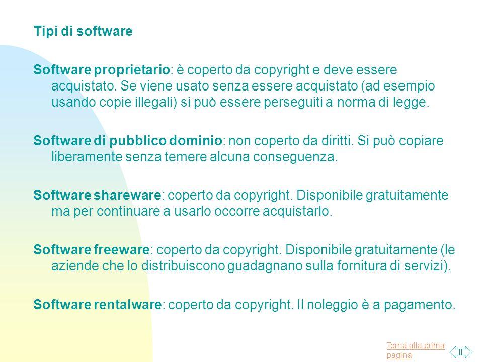 Torna alla prima pagina Tipi di software Software proprietario: è coperto da copyright e deve essere acquistato.