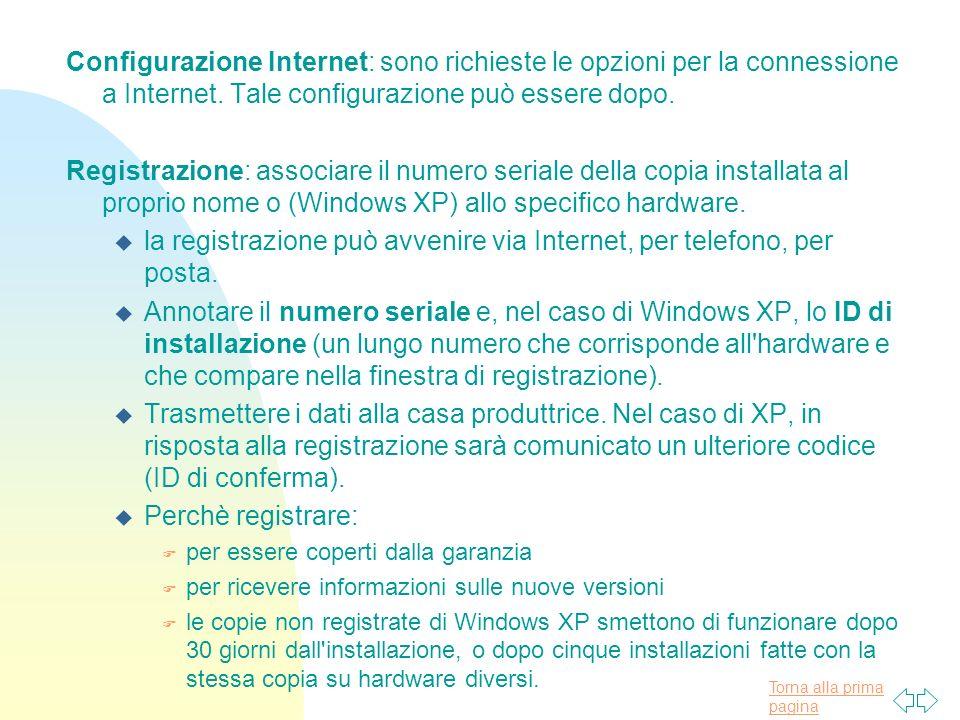 Torna alla prima pagina Configurazione Internet: sono richieste le opzioni per la connessione a Internet.