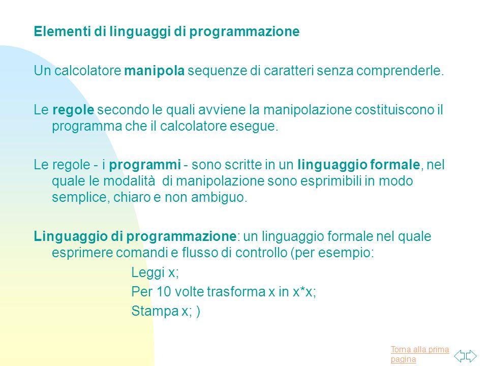 Torna alla prima pagina Elementi di linguaggi di programmazione Un calcolatore manipola sequenze di caratteri senza comprenderle.