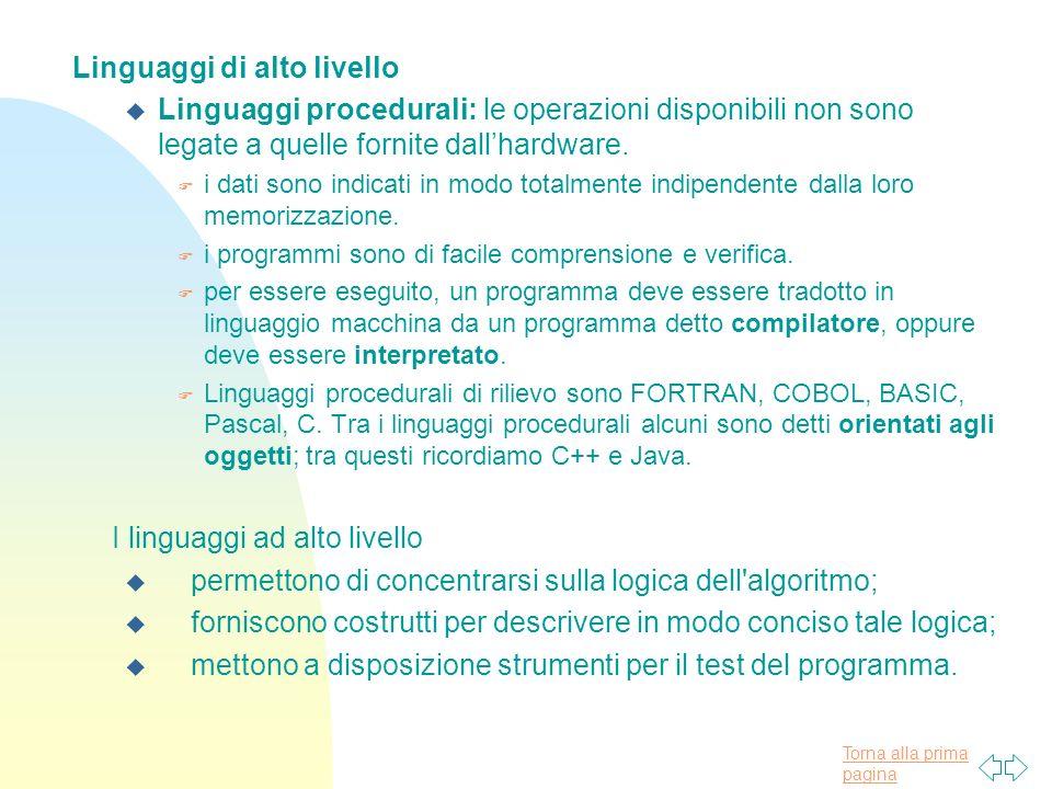 Torna alla prima pagina Linguaggi di alto livello u Linguaggi procedurali: le operazioni disponibili non sono legate a quelle fornite dallhardware.