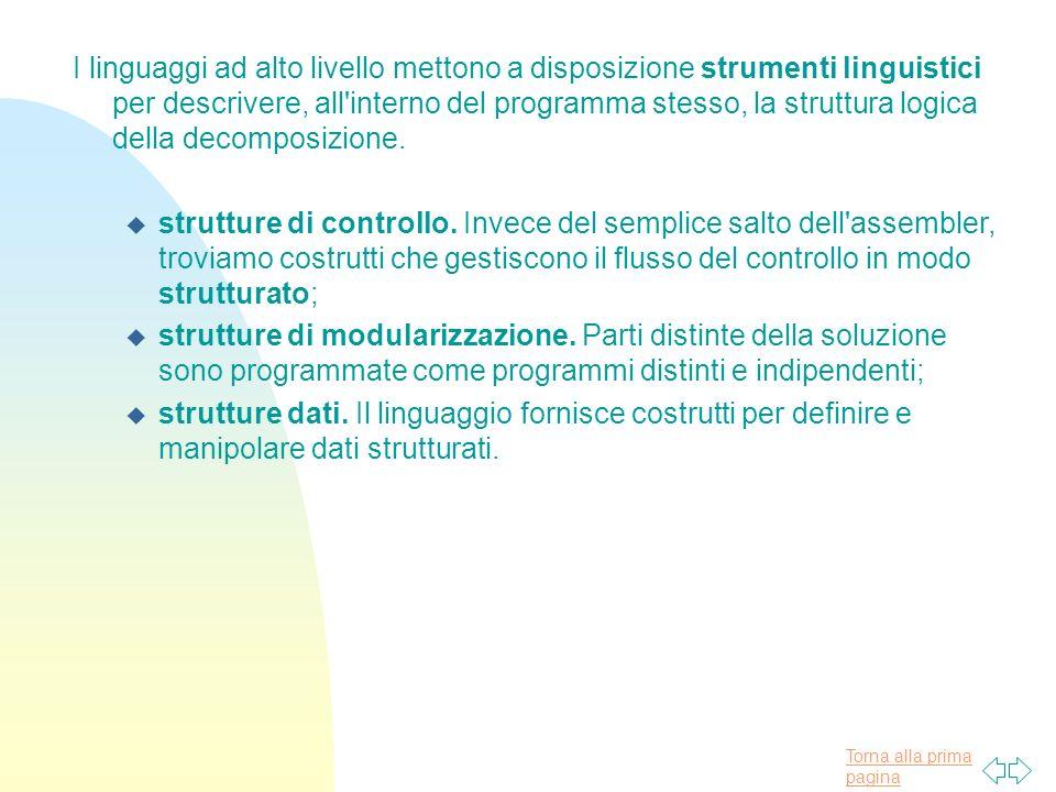 Torna alla prima pagina I linguaggi ad alto livello mettono a disposizione strumenti linguistici per descrivere, all interno del programma stesso, la struttura logica della decomposizione.