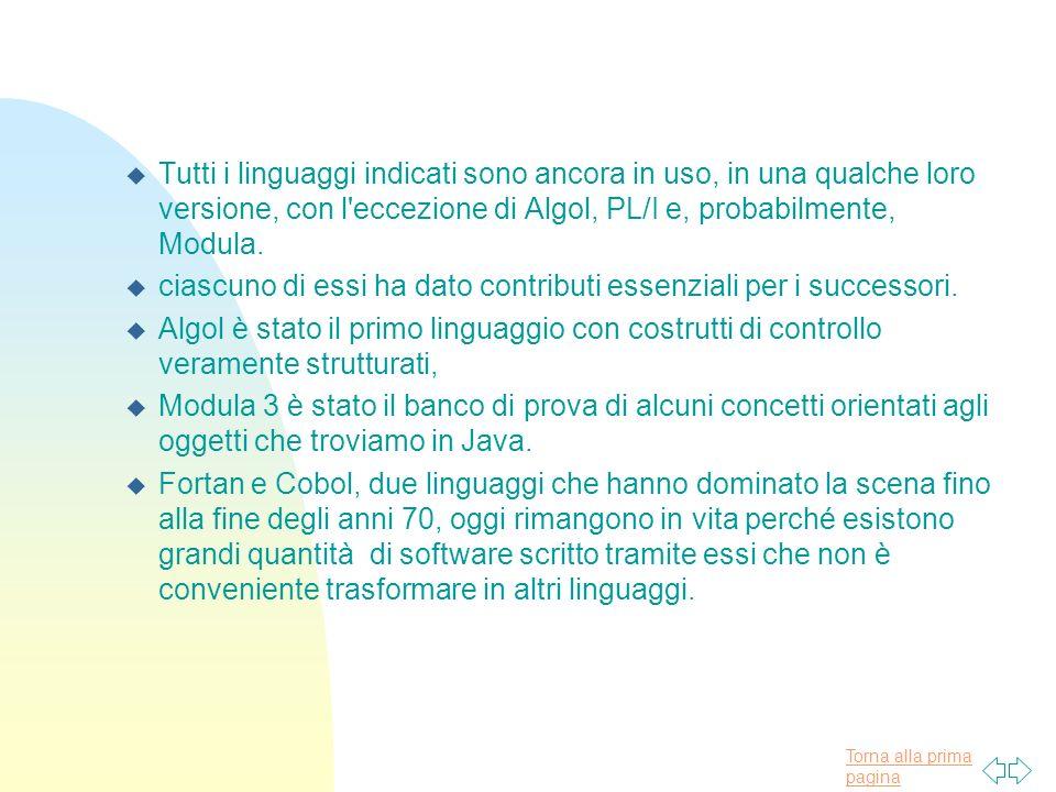 Torna alla prima pagina u Tutti i linguaggi indicati sono ancora in uso, in una qualche loro versione, con l eccezione di Algol, PL/I e, probabilmente, Modula.