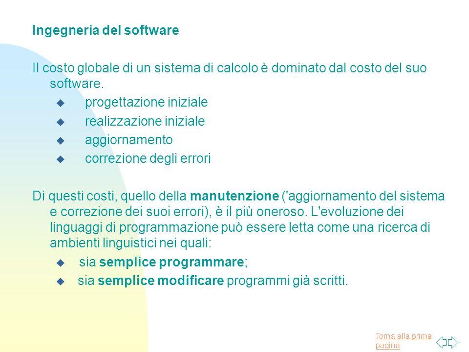 Torna alla prima pagina Ingegneria del software Il costo globale di un sistema di calcolo è dominato dal costo del suo software.