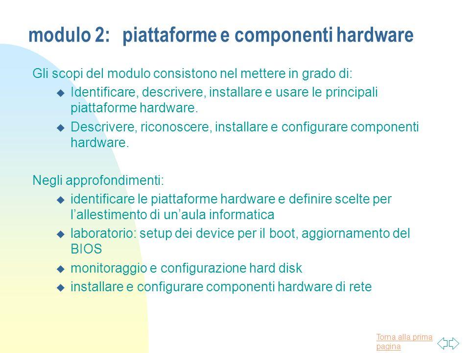 Torna alla prima pagina modulo 2:piattaforme e componenti hardware Gli scopi del modulo consistono nel mettere in grado di: u Identificare, descrivere, installare e usare le principali piattaforme hardware.