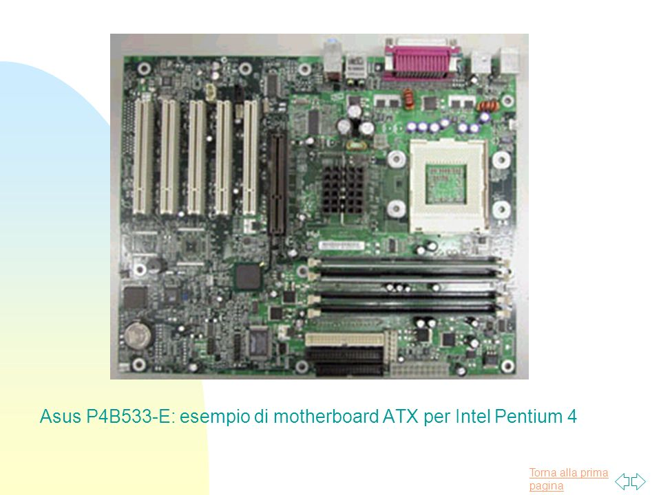 Torna alla prima pagina Asus P4B533-E: esempio di motherboard ATX per Intel Pentium 4