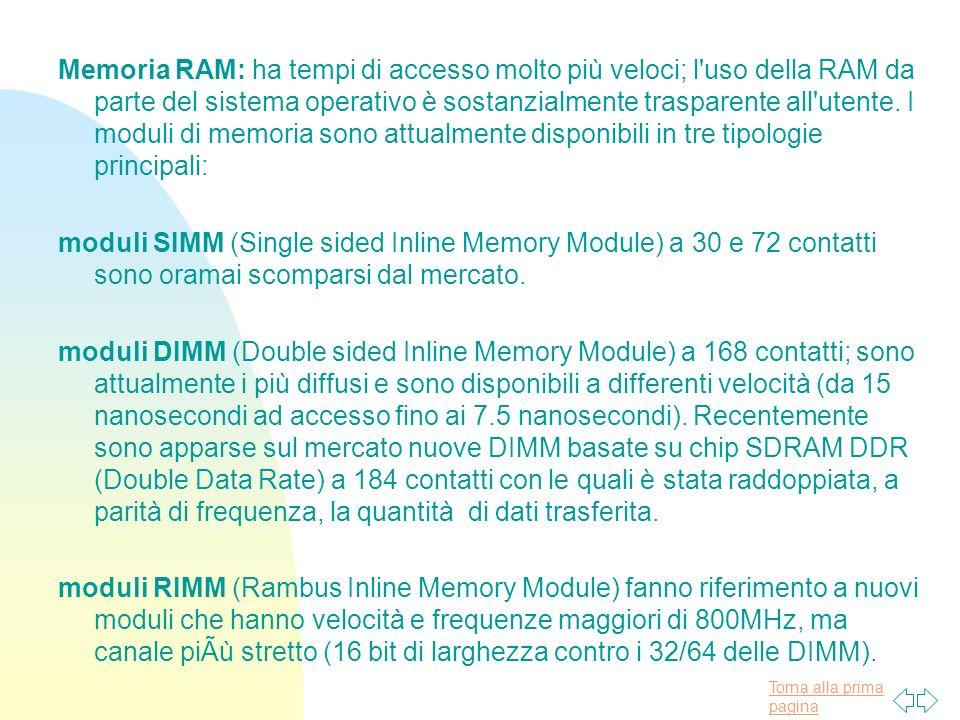 Torna alla prima pagina Memoria RAM: ha tempi di accesso molto più veloci; l uso della RAM da parte del sistema operativo è sostanzialmente trasparente all utente.