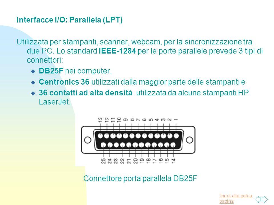 Torna alla prima pagina Interfacce I/O: Parallela (LPT) Utilizzata per stampanti, scanner, webcam, per la sincronizzazione tra due PC.