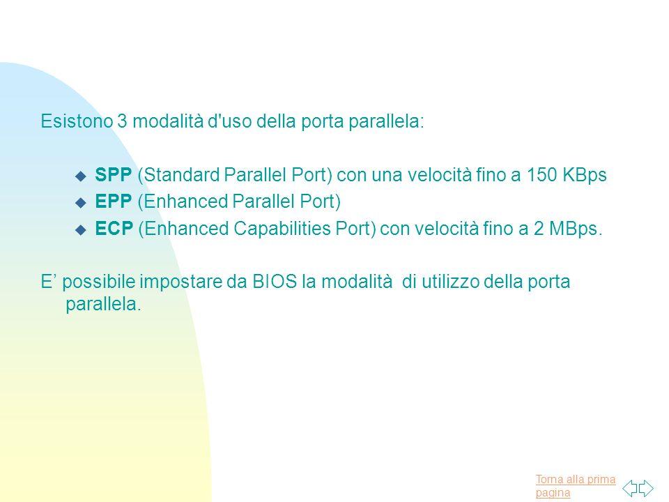 Torna alla prima pagina Esistono 3 modalità d uso della porta parallela: u SPP (Standard Parallel Port) con una velocità fino a 150 KBps u EPP (Enhanced Parallel Port) u ECP (Enhanced Capabilities Port) con velocità fino a 2 MBps.